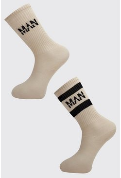Mens Taupe 2 Pack MAN Dash Sport Stripe Sock