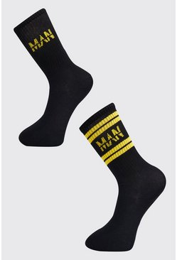 Mens Black 2 Pack MAN Dash Sport Stripe Sock