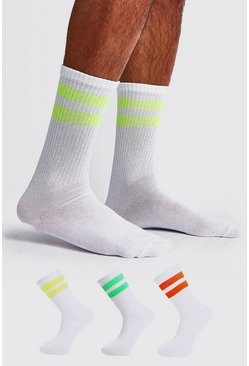 Mens White 3 Pack Mixed Neon Sport Stripe Sock