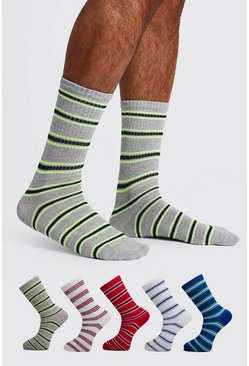 Mens Multi 5 Pack Striped Sport Sock