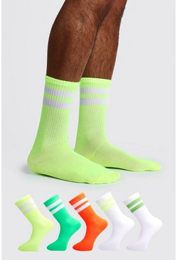 Mens Multi 5 Pack Mixed Neon Sport Stripe Sock