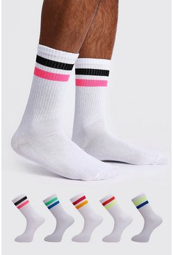 Mens White 5 Pack Contrast Sport Stripe Sock