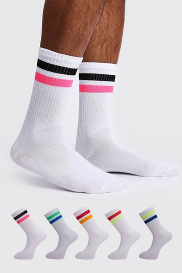 White 5 Pack Contrast Sport Stripe Sock