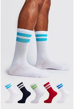 Mens Multi 5 Pack Mixed Sport Stripe Sock