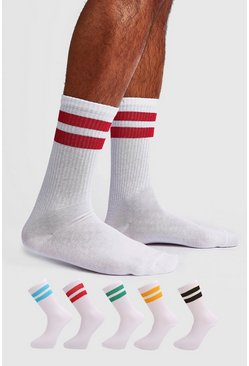 Mens White 5 Pack Mixed Sport Stripe Sock