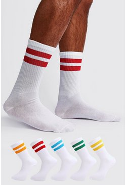 Mens White 5 Pack Mixed Neon Sport Stripe Sock