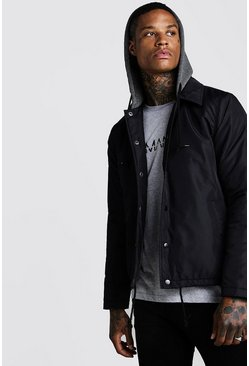 Black Fleece Lined Harrington With Jersey Hood