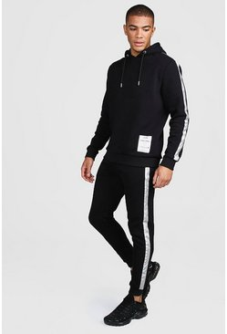 Mens Black Reflective Hooded Sweater Tracksuit Care Label