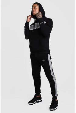 Black MAN Jacquard Panel Hooded Tracksuit With Piping