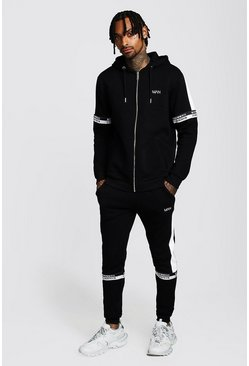 Black Colour Block Zip Hooded Tracksuit With MAN Tape