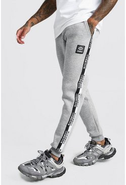 Mens Grey Skinny Jogger With MAN Side Tape
