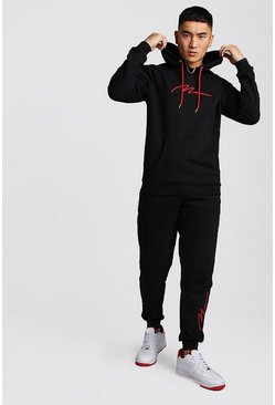 Mens Black 3D MAN Signature Embroidered Hooded Tracksuit