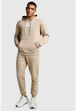 Taupe 3D MAN Signature Embroidered Hooded Tracksuit
