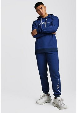 Herr Navy 3D MAN Signature Embroidered Hooded Tracksuit