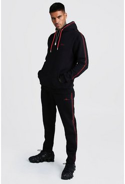 Mens Black MAN Signature Hooded Tracksuit With Tape Detail