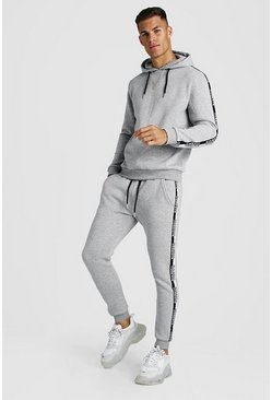 Mens Grey marl Hooded Tracksuit With MAN Tape