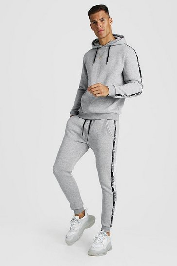 Grey marl Hooded Tracksuit With MAN Tape
