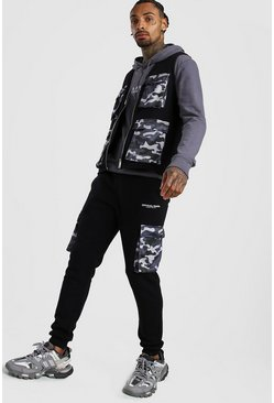 Mens Black MAN Utility Vest & Jogger Set With Camo Pockets