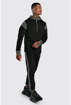Herr Black Original MAN Half Zip Panelled Tracksuit With Piping