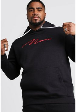 Herr Black Big And Tall MAN Hoodie With Contrast Hood