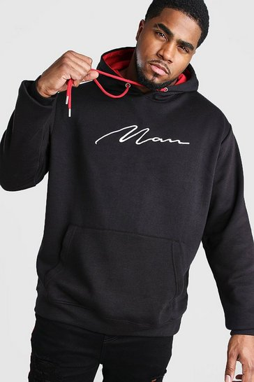 Mens Black Big And Tall MAN Hoodie With Contrast Hood