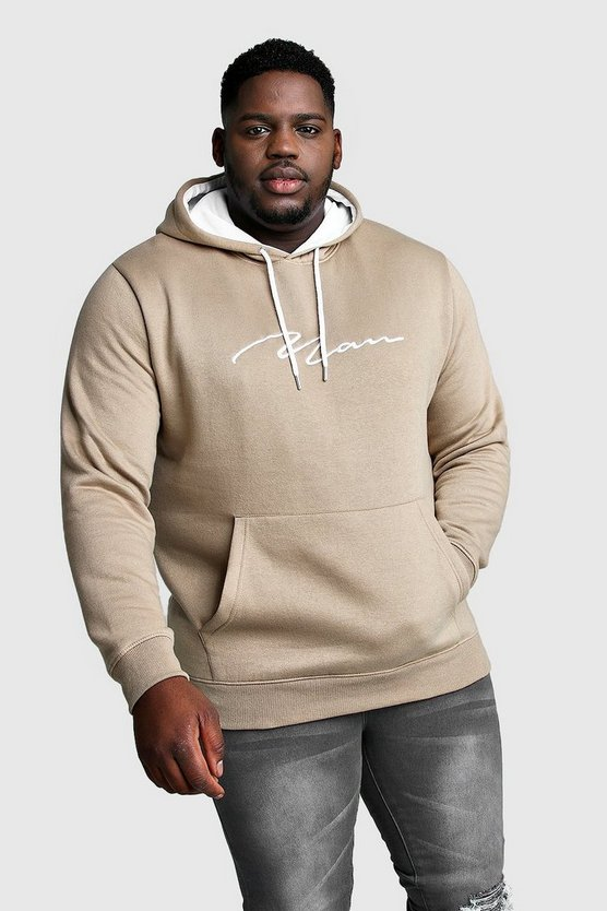 Mens Taupe Big And Tall MAN Hoodie With Contrast Hood
