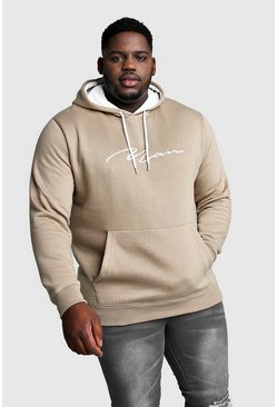 Big And Tall MAN Hoodie mit kontrastierender Kapuze, Taupe, HERREN