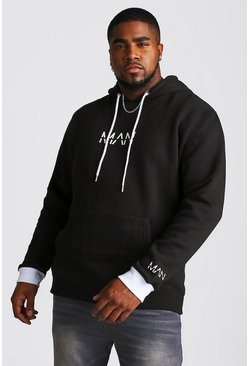 Herr Black Big And Tall MAN Hoodie With Contrast Detailing