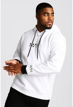 Mens White Big And Tall MAN Hoodie With Contrast Detailing