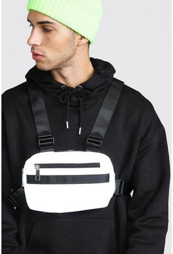 Mens Grey Reflective Chest Bag