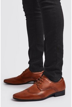 Tan Faux Leather Emboss Wingcap Brogue