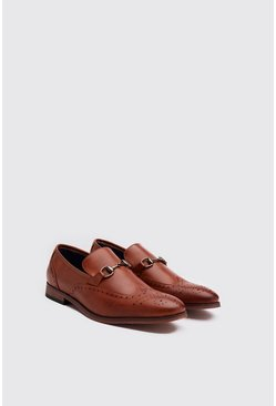 Mens Tan Faux Leather Shaffle Loafer