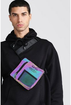 Rainbow Reflective MAN Print Chest Bag, Multi