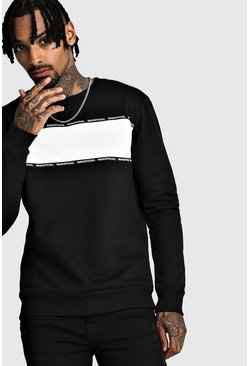 Herr Black MAN Official Colour Block Tape Sweatshirt