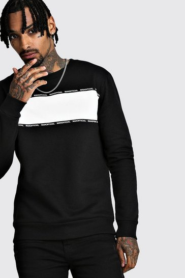 Mens Black MAN Official Colour Block Tape Sweatshirt
