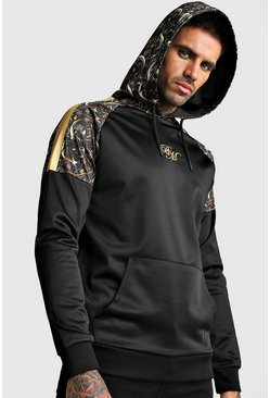 Mens Black B&M OTH Tricot Raglan Hoodie With Baroque Panels