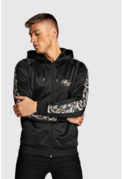 Black B&M Zip Through Tricot Hoodie With Baroque Panels