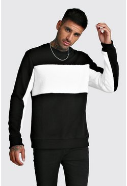 Herr Black Sweatshirt With Borg Panels