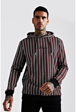 Mens Red MAN Signature Jacquard Herringbone Stripe Hoodie