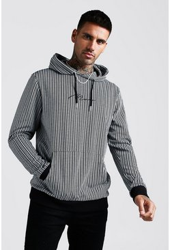 Mens Black MAN Signature Jacquard Herringbone Stripe Hoodie