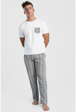 Herr Black Check Pant Lounge Set
