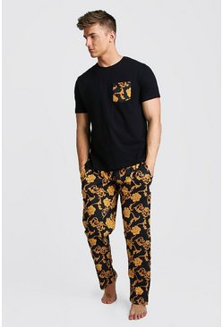 Mens Black Baroque Pant Lounge Set