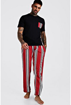 Ensemble pantalon de détente à rayures, Rouge