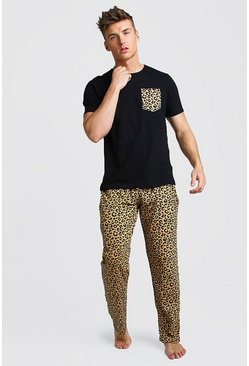 Mens Black Leopard Pant Lounge Set