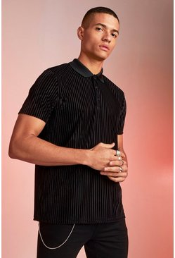 Mens Black Sheer Velour Stripe Party Polo
