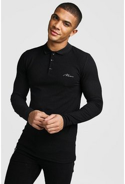 Langärmeliges Poloshirt in Muscle-Fit mit MAN-Stickerei, Schwarz, Herren