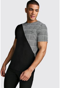Mens Black MAN Signature T-Shirt With Spliced Check