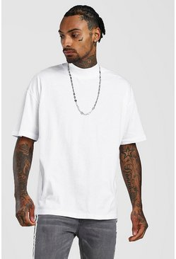 Mens White Oversized T-Shirt With Extended Neck
