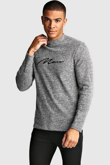 Grey marl Muscle Fit MAN Signature Turtle Neck LS Tee