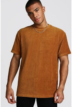 Mens Gold Loose Fit Ribbed Velour T-Shirt